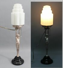 Antique 1920s Art Deco Nude Woman Pixie Wells & Sons Table Lamp Skyscraper Shade