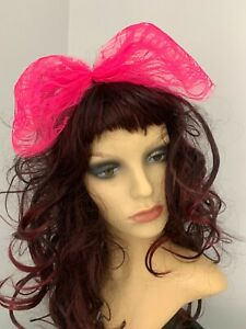 80s Fancy Dress 1980s Accessories Hot Pink Hair Bow Large Lace Hair Bow