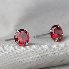 Unisex Women Men Silver Plated Cubic Crystal Zirconia Round Stud Earrings 3-8MM