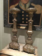 Pair Of Antique French  Repousse Metal Ecclesiastical  Candlesticks