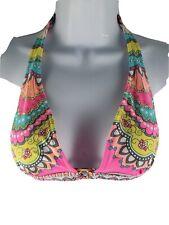 Womens Sacks Beachwear Multi-Color 4 Strap Floral Bikini Swim Top Polyester S