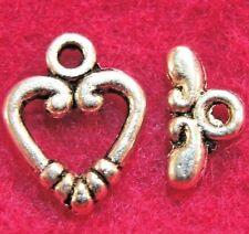 50Sets WHOLESALE Antique Silver HEART Toggle Clasps Hooks Tibetan Q0913