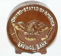Vintage coin savings bank Ceramic Penny USA Savings Bank Washington DC Coin Bank