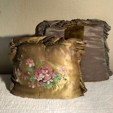 Antique Silk & Satin Tea Cozies Moss Green Handpainted Violets
