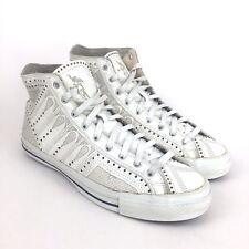 CONVERSE Renaissance Ballroom Rare White Leather Laser Cut High Top Shoe Mens 11