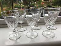 six vintage Crystal wine glasses Delicate