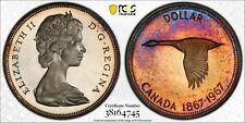 1967 CANADA GOOSE SILVER DOLLAR PCGS PR64DCAM PROOF UNC MULTI COLOR TONED (DR)