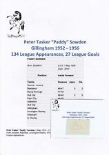 Paddy Sowden Gillingham 1952-1956 RARE ORIGINAL main signed CUTTING/card
