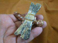 Y-DRAG-403) red DRAGONFLY fly figurine BUG carving SOAPSTONE PERU dragonflies