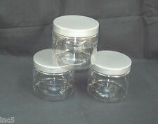 4oz to 16 oz  Clear PET Straight Sided Plastic  Jars w/Smooth Plastic Cap