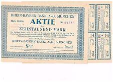 Rhein-Bayern Bank AG, München 1923, 10.000 Mark, ungelocht/ Kupons, selten