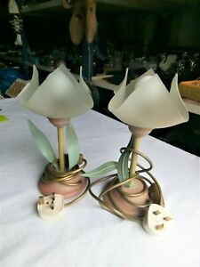 Bedroom Lamps Vintage Set of 2 Italy Collectable Flowers Design Decorated Great