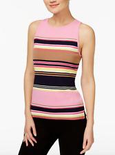 INC International Concepts Petite Striped Halter Sleeveless Sweater Pink Multi