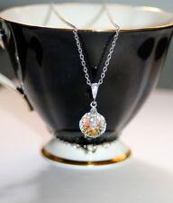 Austrian Spinning Crystal Aurora Borealis pendant Rhodium plated necklace