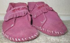 EUC Toddler Baby Girl's Medium Size 3  Hale Bob Pink Leather Moccasins Shoes