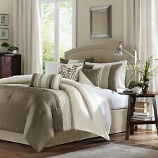 Luxurious 7-piece Comforter Set King Size Bed in a Bag Bedding Bedspread Beige