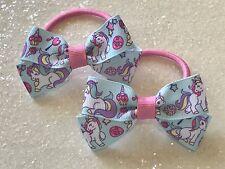 Unicorn and Rainbows Hair Bow Ponytail Holders Medium Sized Girls Unicorn Bows