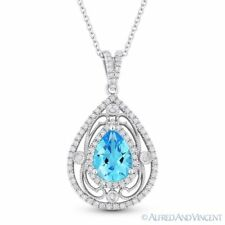 Antique Style Blue Sapphire & Diamond Pendant Necklace 14k White Gold