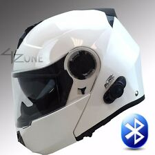 Torc Avenger T27 Glossy White Bluetooth Modular Motorcycle Scooter Helmet - M