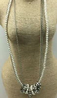 Vintage Style Necklace Rhinestone Crystal Slide Loops Faux Pearl Silvertone Long