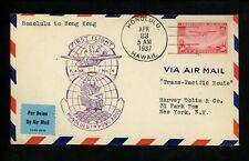 US Postal History Airmail FAM 14 Honolulu HI to Hong Kong China 1937