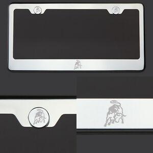 T304 Chrome Polished Lamborghini Logo Laser Etched Engraved license Plate Frame