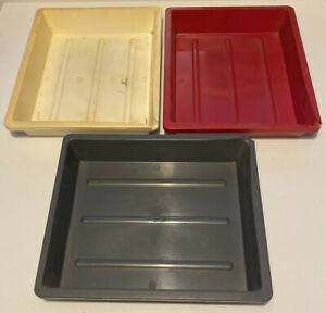 """3x Vintage Photax Photography Darkroom Developing Trays 8x10"""" Size Thick Plastic"""