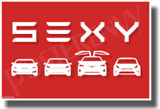 Tesla - SEXY - Red & White - NEW Humorous Electric Car POSTER (hu480)