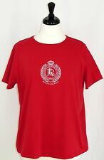 Ralph Lauren 1X Red Top Silver Crest Short Sleeve