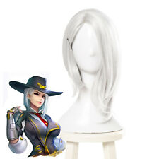 OW Overwatch Ashe Short Straight White Cosplay Wig Womens Side Part Bob Hair Wig