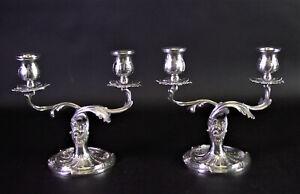 Paar schwere florale 800er Silber KERZENLEUCHTER - GIRANDOLEN - sehr schön!