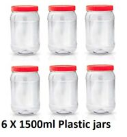 6 X 1500ml Plastic Storage Jars Containers Pots Screw Top Canisters Spice Jar