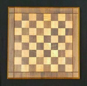 "Vtg Drueke Walnut & Birch Chess Board 15"" Double Sided w Sticker 1.5"" Sq ~ EXC!"