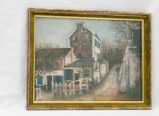 """Vintage """"Lapin Agile in Spring/Summer"""" Print by Maurice Utrillo V.Signed/Framed"""