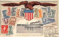 UNITED STATES, POSTCARD SHOWING EMBOSSED STAMPS & VIEW OF CANADA, dated 1906