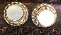 Retro Vintage Mother Of Pearl Crystal Rhinestone Spiral Button Clip On Earrings