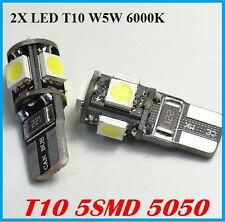 2X VEILLEUSES T10 W5W LED 5 SMD ODB BLANC PUR 6000K TUNING