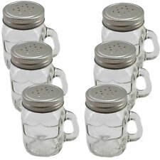 6x Gewürzstreuer Glas Schraubdeckel Henkelglas 8cm Garten Grillen Salzstreuer