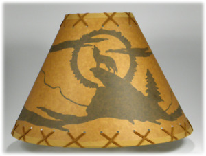 """14"""" Coyote Rustic Lampshade with Suede Double Lacing top & bottom"""