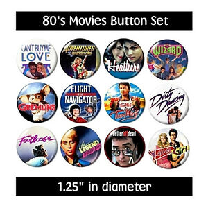 80's MOVIES BUTTONS (set #2) pins films 1980's eighties new!