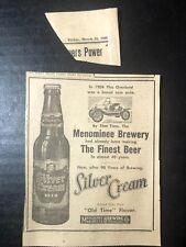 1960 Silver Cream beer Menominee Mi Brewery print ad 5.5x4�