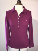 UK S (approx UK 8) GANT LADIES RUGBY POLO TOP PINK LONG SLEEVE BUTTON NECK