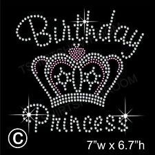 Birthday Princess Crown/Tiara Rhinestone Hotfix Iron on Transfer Motif+Free Gift
