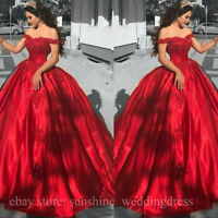 Red Satin Quinceanera Prom Dresses Off Shoulder Lace Appliques Formal Party Gown