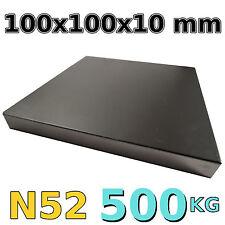 Neodym Magnet Quader 100x100x10mm N52 extrem 470 KG stark Zugkraft Platte Power