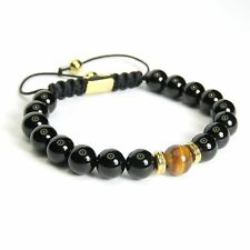 Mens And Womens Black Glossy Natural Gemstone Bead Bracelet The Eye Of The Tiger