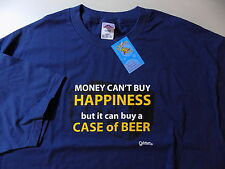 NEW Money cant buy happiness Beer Tee T shirt Size XXL Solid Navy Blue Men's