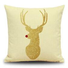 Cotton Linen Christmas Deer Pillow Case Cushion Cover Sofa Car Decor Xmas Party 13
