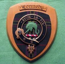 More details for vintage scottish clan kennedy tartan oak plaque crest shield b