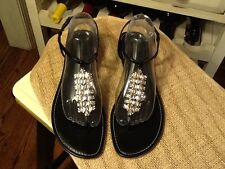 ATHENA ALEXANDER Black patent leather Thong Sandals with Rhinestones Women's 11